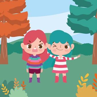Cena de natureza de expressão facial de personagem de desenho animado de meninas