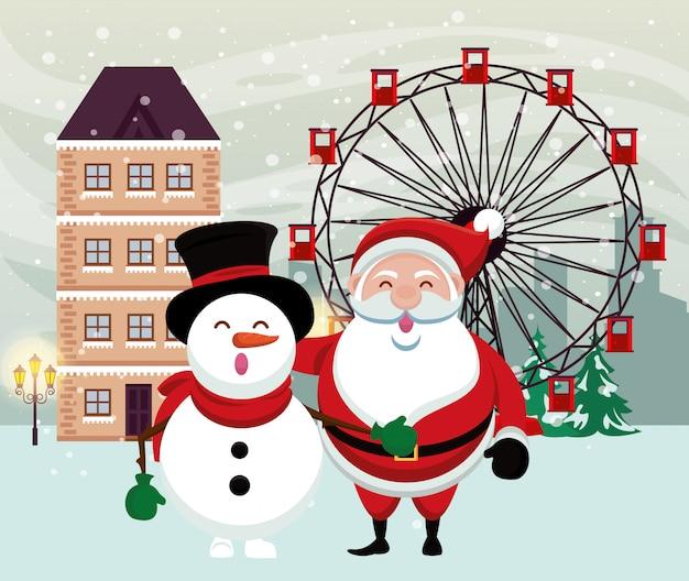 Cena de neve de natal com boneco de neve e papai noel