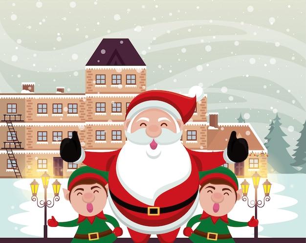 Cena de neve de natal com papai noel e elfs