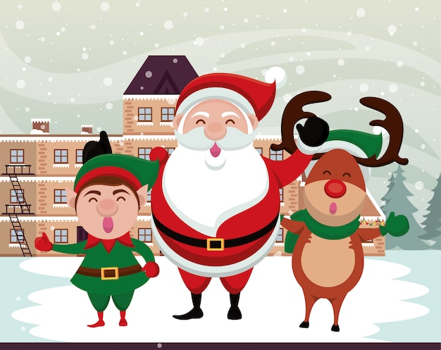 Cena de neve de natal com personagens fofinhos