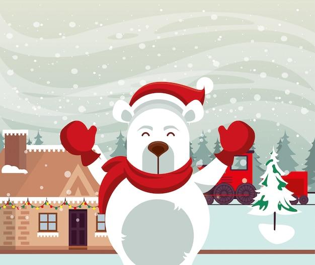 Cena de neve de natal com urso polar