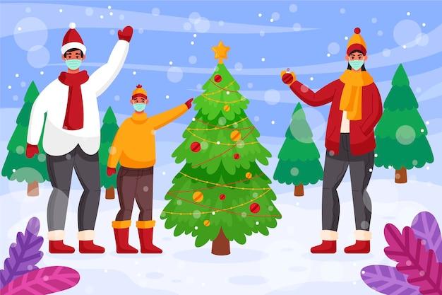 Cena de neve de natal usando máscaras