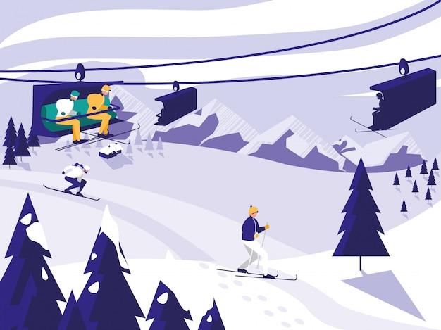 Cena de neve do acampamento de esqui