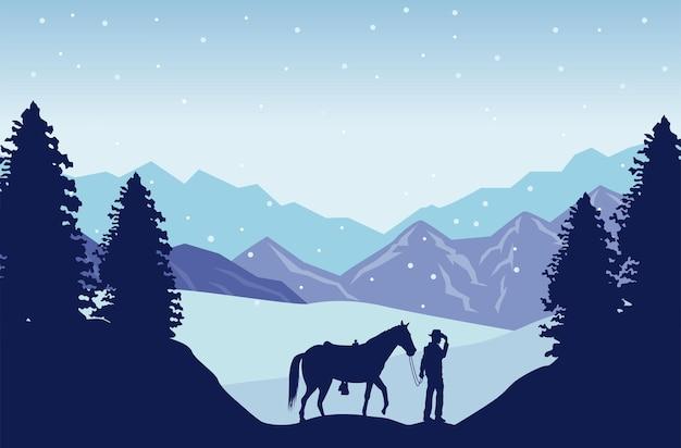 Cena de neve do oeste selvagem com cowboy e cavalo