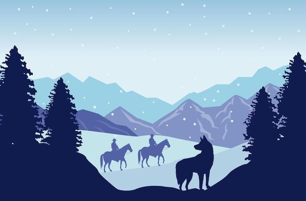 Cena de neve no oeste selvagem com cowboys em cavalos e cães