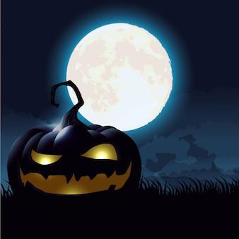 Cena de noite escura de halloween com abóbora