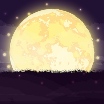 Cena de noite escura de halloween com lua cheia