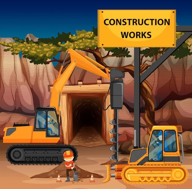 Cena de obras de construção com perfurador e bulldozer