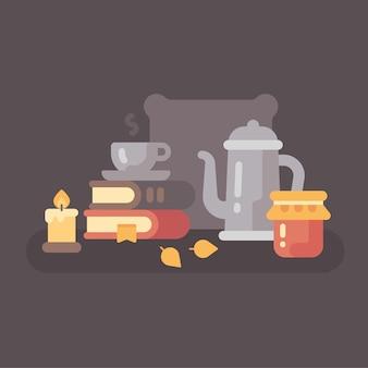 Cena de outono aconchegante com chá e livros. ilustração plana de fundo de outono