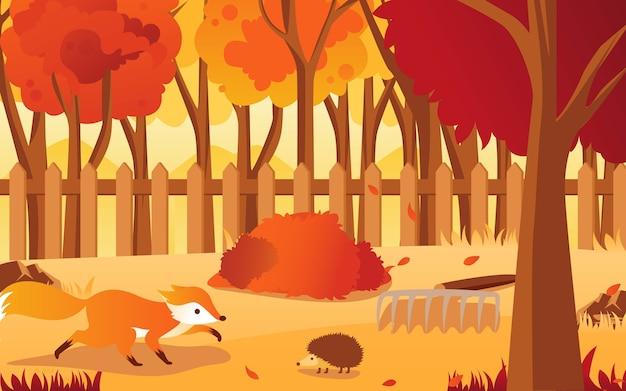 Cena de outono no parque com a doninha e o ouriço.