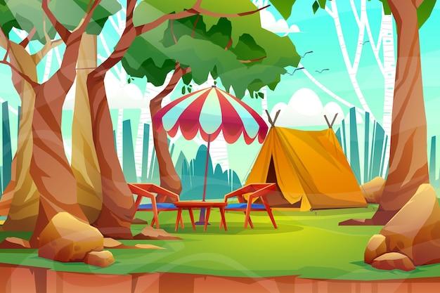 Cena de paisagem com natureza e barraca em parque de campismo nas férias