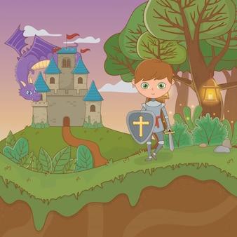 Cena de paisagem de conto de fadas com castelo e guerreiro