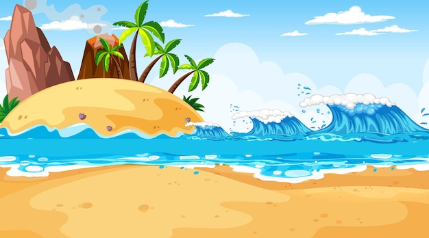 Cena de paisagem de praia tropical durante o dia