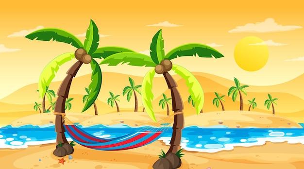 Cena de paisagem de praia tropical na hora do pôr do sol