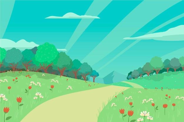 Cena de paisagem de primavera