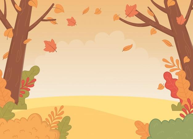 Cena de paisagem de temporada outono floresta