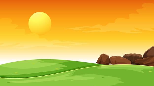Cena de paisagem de um prado vazio ao pôr do sol
