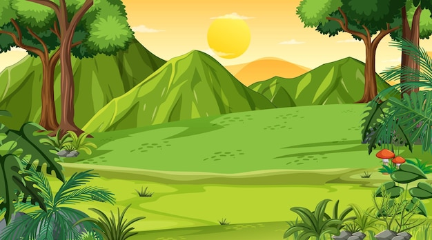 Cena de paisagem de um prado vazio na hora do pôr do sol