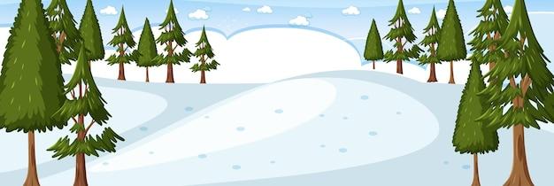 Cena de paisagem horizontal de floresta de inverno em branco