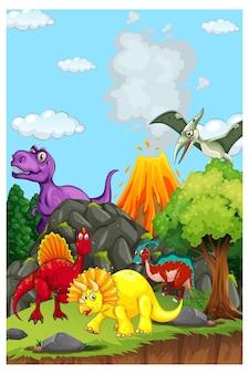 Cena de paisagem pré-histórica com vários dinossauros