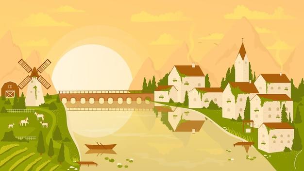 Cena de paisagem rural com vinhedo e vila ao pôr do sol no cenário de fazenda rural