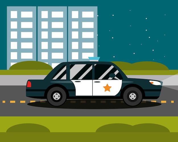 Cena de paisagem urbana de cidade à noite, estrada de carro de polícia