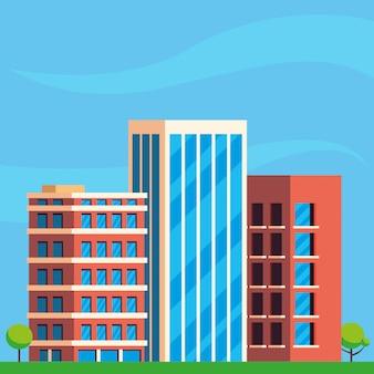 Cena de paisagem urbana de construção de edifícios