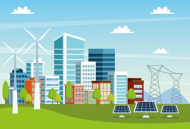 Cena de paisagem urbana de edifícios e painéis solares