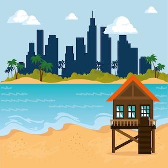 Cena de paisagem urbana de miami beach