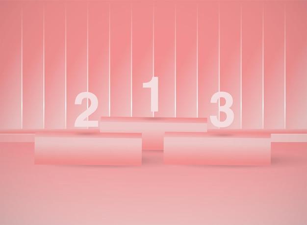 Cena de palco mínima em 3d geométrica em rosa pastel para colocação de produtos