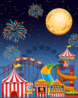 Cena de parque de diversões à noite com fogos de artifício e lua