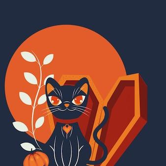Cena de personagem disfarçada de gato de halloween