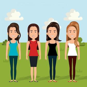 Cena de personagens de mulheres jovens