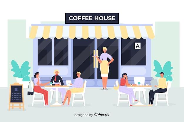 Cena, de, pessoas sentando, em, um, café