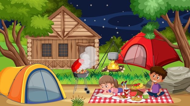 Cena de piquenique com família feliz na floresta