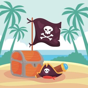 Cena de piratas na praia