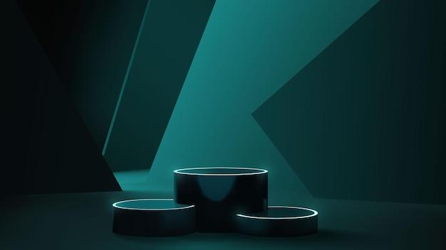 Cena de pódio de néon com geometria abstrata