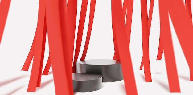 Cena de pódio elegante e moderna com faixa decorativa abstrata vermelha