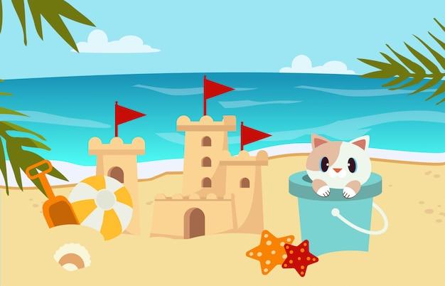 Cena de praia com areia do castelo, gato no tanque