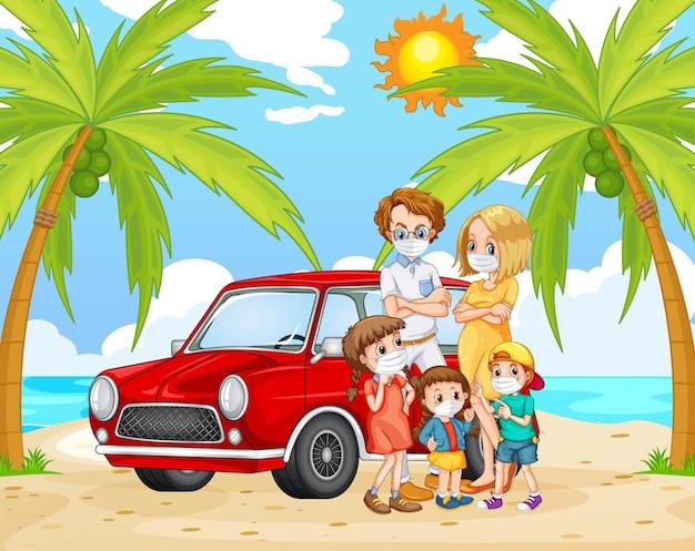 Cena de praia com família usando máscara para prevenir o coronavírus