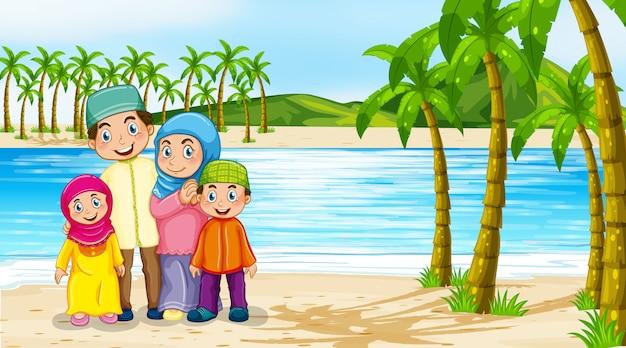Cena de praia com membros da família