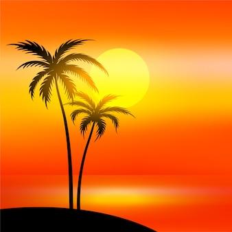 Cena de praia com pôr do sol e palmeira