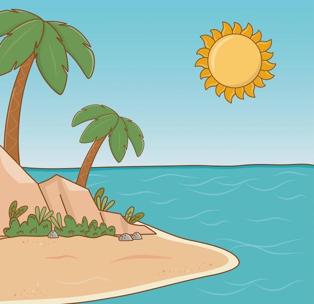 Cena de praia de palmeiras de árvore