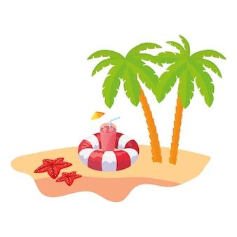 Cena de praia de verão com palmeiras de árvore e flutuar