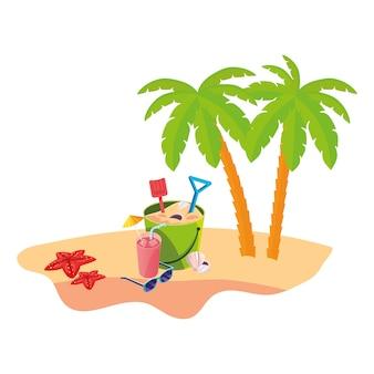 Cena de praia de verão com palmeiras e balde de areia