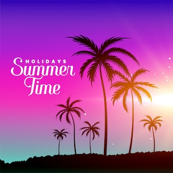 Cena de praia de verão com palmeiras