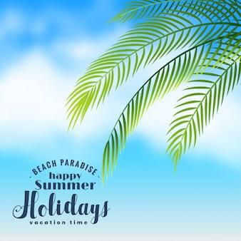 Cena de praia linda com folhas de palmeira