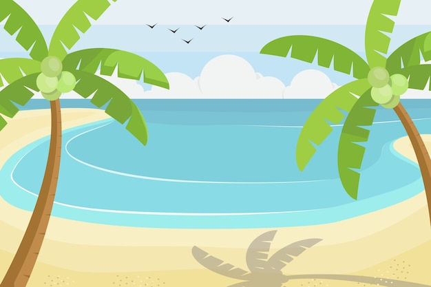Cena de praia no estilo plano, ilustração vetorial