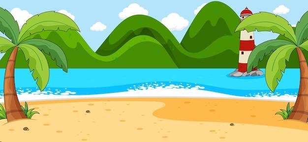 Cena de praia vazia com coqueiros e montanha em estilo simples