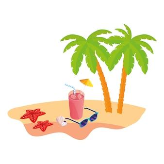 Cena de praia verão com palmeiras e óculos de sol